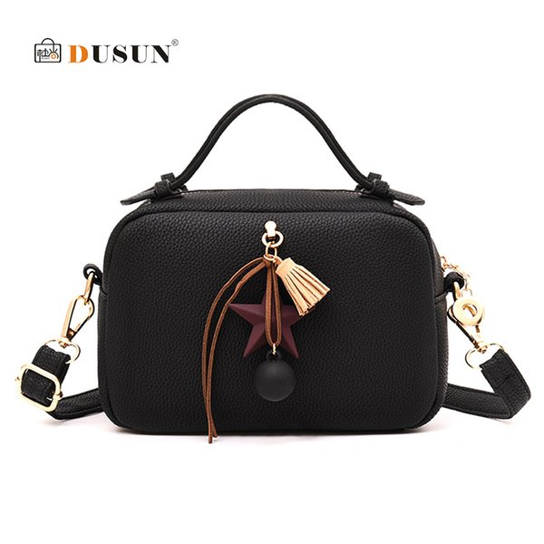 DUSUN Brand Women Handbags Boston Bag Tassel Women Shoulder Bag Designer PU Leather Bags Ladies Bolsa Feminina Female Handbags