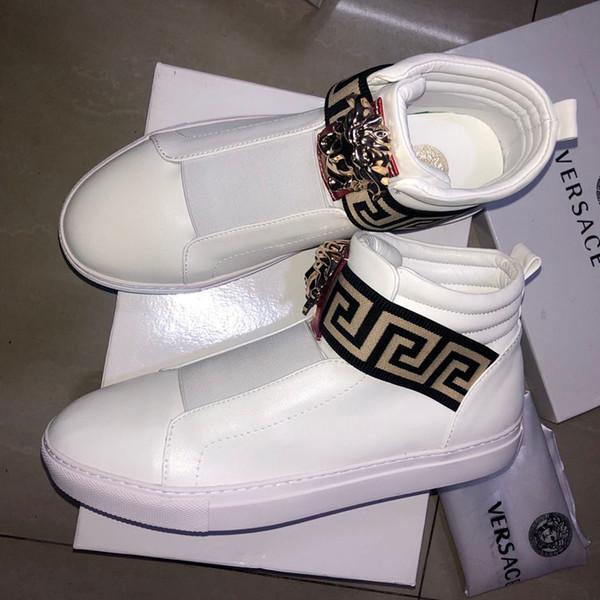 D2020 édition limitée Medusa haute aide chaussures casual chaussures haute lovers cuir qualité des chaussures de sport pour hommes sauvages mode cadeau