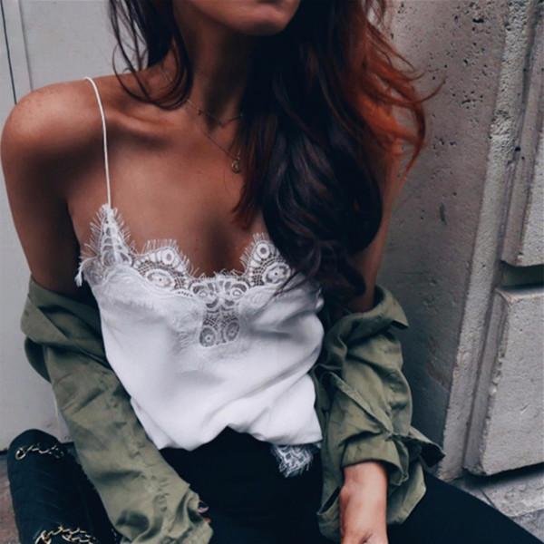Camis encaje de las n Blanco Negro atractivo de la correa de espagueti Bralette Camis Tops sólido cordón de Regata Femenina