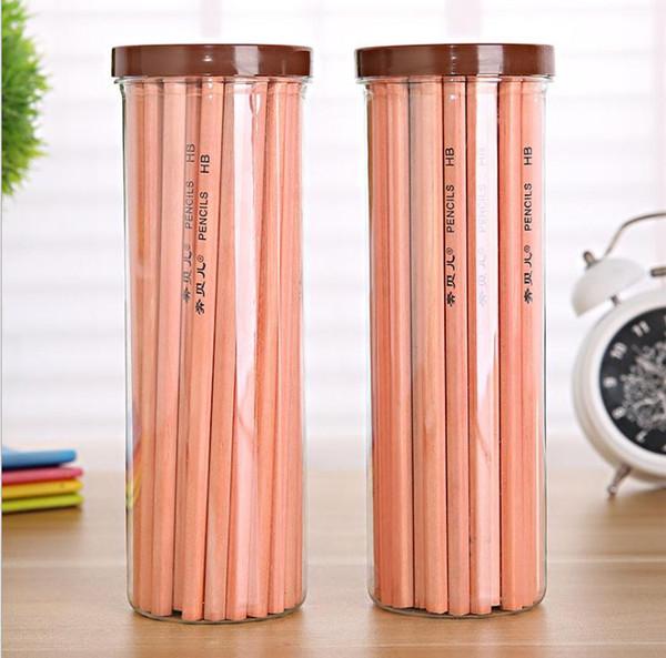 top popular 50 barrels HB mahogany barrel pencil hex pole level rod environmental protection wood pencil student pencil 2020