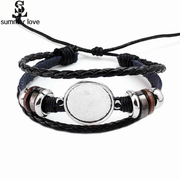 Handmade Multilayer Leather Glass Cabochon Bracelet for Women Men 20MM Diy Photo Glass Base Bezel Tray Blank Charm Bracelet Wholesale