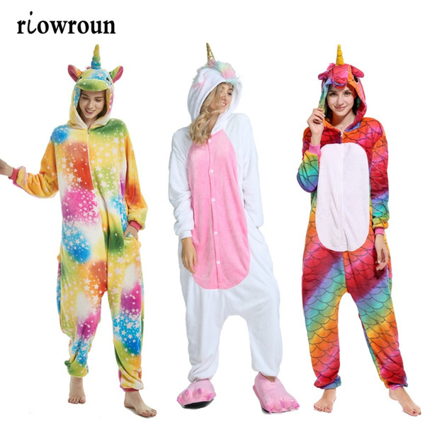 Conjuntos de pijama de inverno unicórnio Dos Desenhos Animados Sleepwear Mulheres Flanela Pijama para mulheres Homens