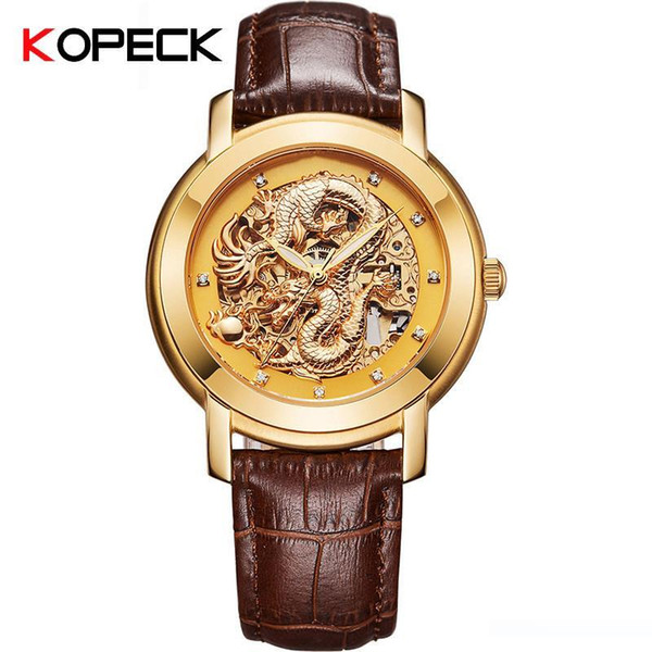 Kopeck Famous Men Mechanical Watches Automatic Dragon 3D Gold Luxury WristWatches Water Resistant Automatic Watches 9007G