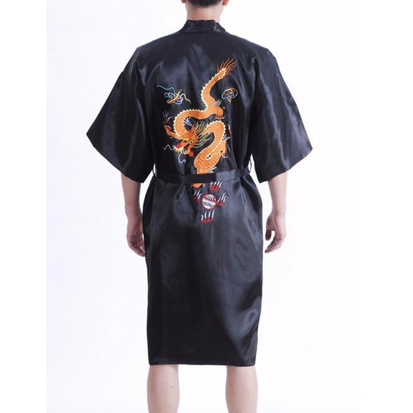 Горячая продажа новый черный Мужская шелковый атлас Кимоно Robe платье в китайском стиле пижамы вышивки Дракон ванны платье Размер S-XXXL 011008