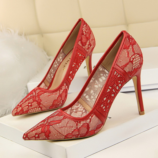Dress Shoes European And American Style Sexy Nightclub Was Thin High-heeled Shallow Mouth Pointed Mesh Openwork Lace Women High Heels