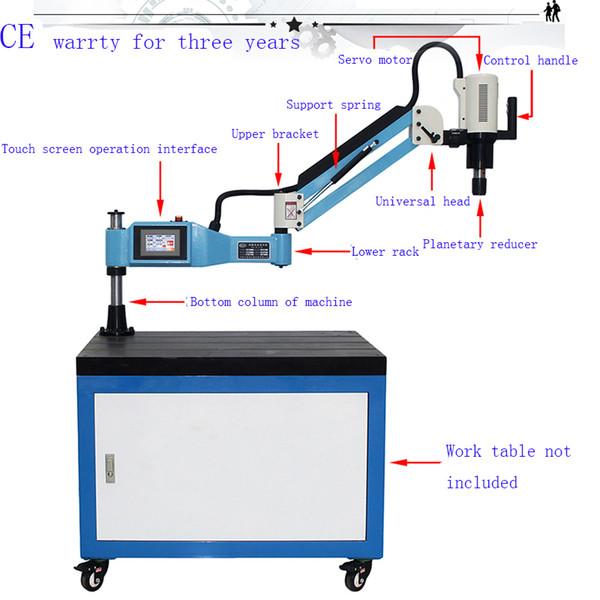 CE 220V 2pcs M3-M12 1pcs M6-M24 Máquina de roscado eléctrica de tipo universal 2 juegos M3-M16 Mandriles DIN 1 * M12 1 * M10 2 * M4 2 * M3 Mandril DIN