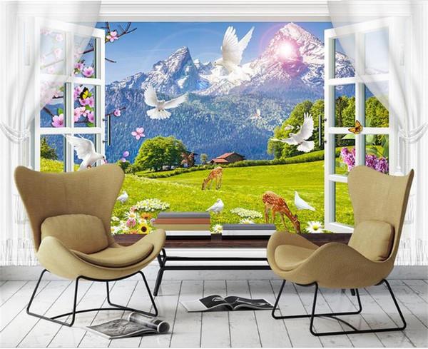 Нестандартные Размеры 3D Фото Обои Гостиная Росписи Снежная Гора Пастбище Голубь Картина Росписи Домашнего Декора Творческий Отель Исследование Обои 3 D