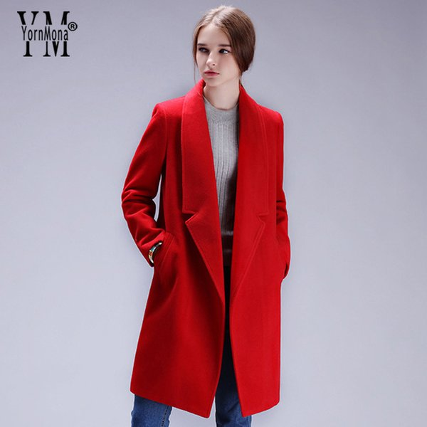 YornMona Fall Winter Casual Formal Wool Coat Elegant Office Lady Long Sleeve Blazer Cashmere Jackets Turn-down Collar Outwear