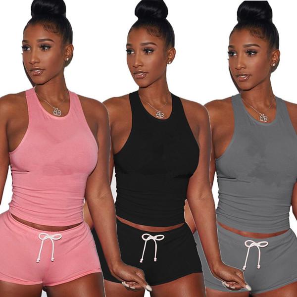 Progettista di marca donne tuta jogger Canotta pantaloncini 2 pezzi set tuta sleelveless tshirt abbigliamento sportivo abiti tuta vestiti 0236 390