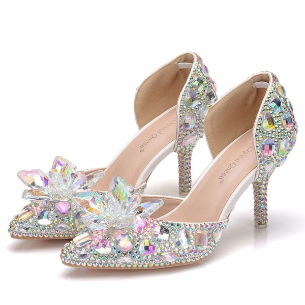 Crystal Queen Bling Bling Stones Glass Stiletto High Heels Sexy Pointed Toe Bridal Pumps Diamond Wedding Shoes Women Sandals 7CM