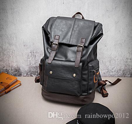 Atacado marca de alta qualidade do sexo masculino pacote mens coreano ocasional mochila grande cor flip man mochila de viagem de lazer mochila de couro