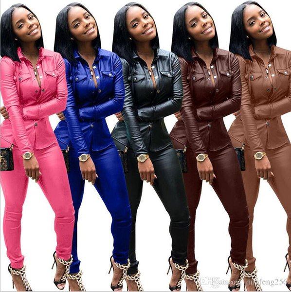 Women Leather Designer Spring Suits Autumn Fashion Slim Fit Sports Tracksuits Jacket Pants 2pcs Sets