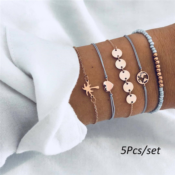 5Pcs/set Bohemian Handmade Tree Map Beads Circle Weave Coconut Map Love Long Tassel Bracelet Sets Women Girls Rope Chain Jewelry Gifts