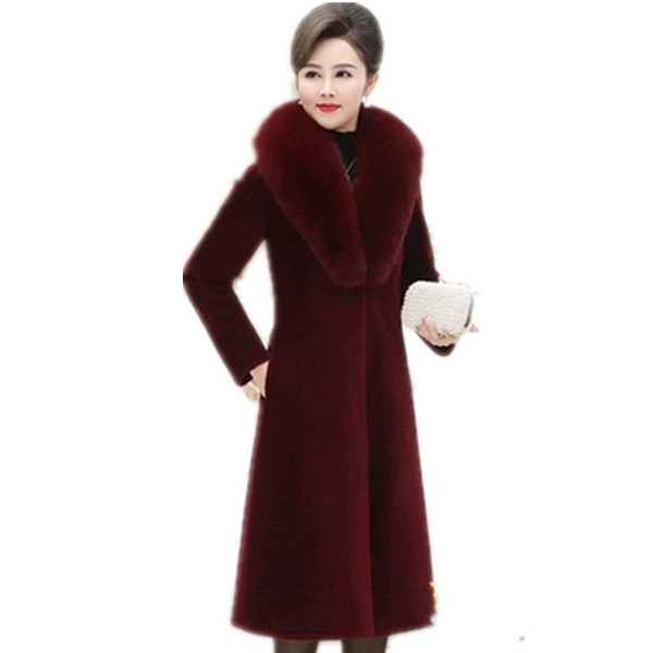 New winter fox fur collar fur coat fashion large size slim Show thing shorn sheepskin coat female long warm high-end jacket G930