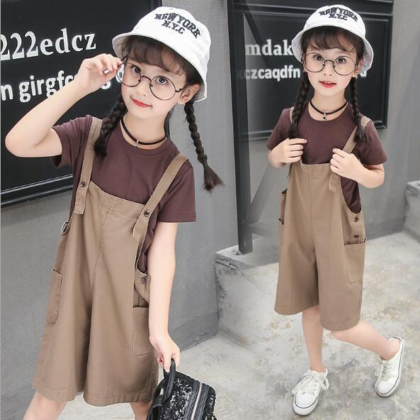 6Set/lot Kids Clothes Summer Spring Girl Clothing Short Sleeve T-Shirt+Pants 2 Pcs Suit Children Plain Colour Clothes Suit