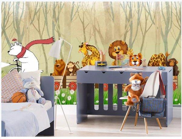 Пользовательские 3d обои лес мультфильм животных обои фрески детская комната фон фреска обои фото для стен 3D