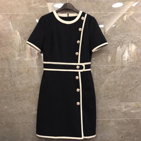2019 Designer Mulheres Vestido O Pescoço Curto Mangas Tiger Cabeça Botões Vestidos Das Mulheres De Milão Runway Designer Dress 420001