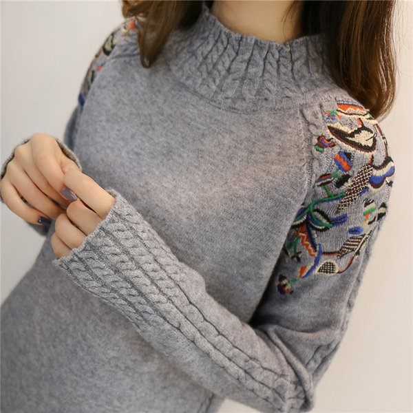 women sweater sweaters woman 2019 female half turtleneck sweater female sleeve embroidery twist loose all match sleeved bottoming