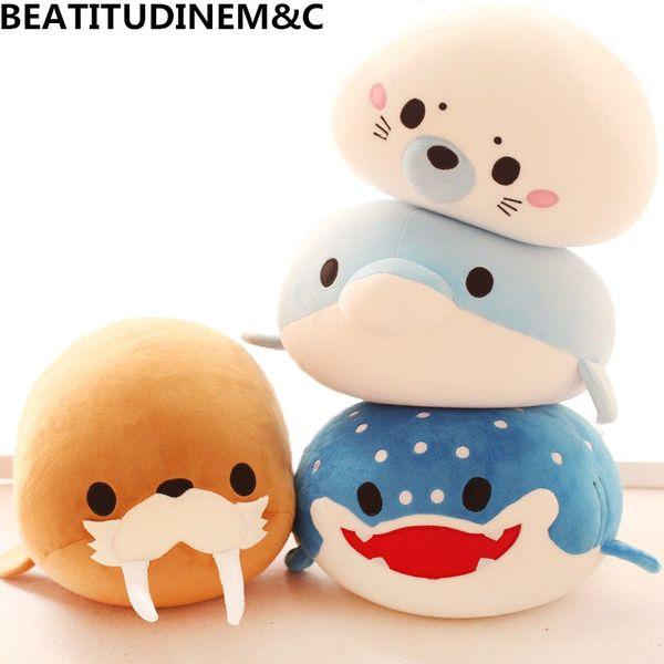 Cute Dolphin, Seals, Walruses, Killer Whales, Whale Sharks Plush Toys, Ocean Alliance Foam Particles Children Doll Dolls