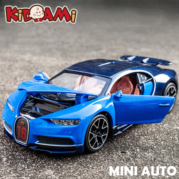 Kidami 1:32 Alloy Bugatti Chiron Pull Back Diecast Scale Car Model Car Collection Gift Miniauto Toy Vehicles Toys For Children J190525