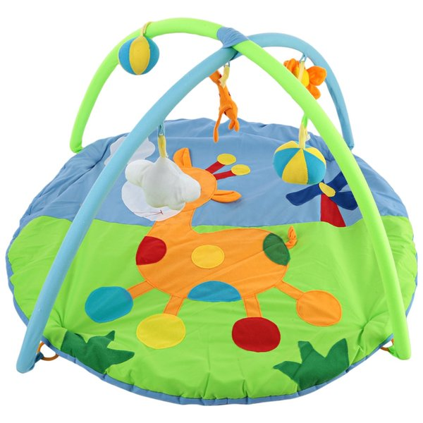 Baby Soft Play Mat Deer Gym Blanket with Frame Rattle Crawling Toy Educational Fitness Bracket Toys Game Mats Kids Xmas Gifts VB