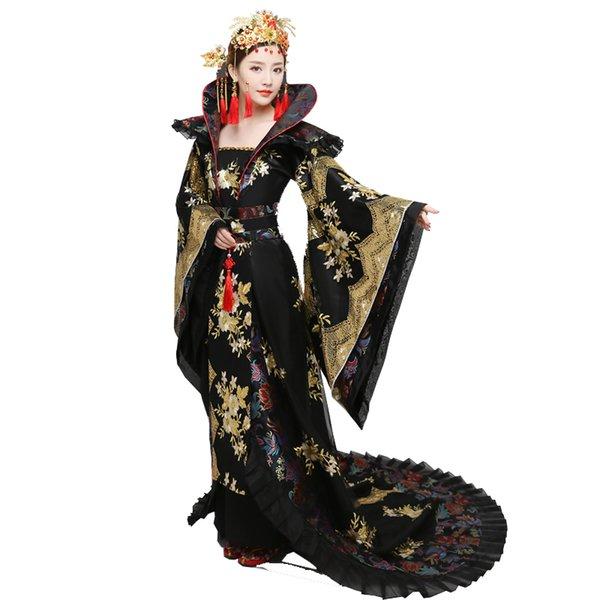 NOUVEAU 2018 costume femmes hanfu Trailing Dress femme chinois traditionnel Vêtements chine noir Swordswomen TV Movie Stage Outfit