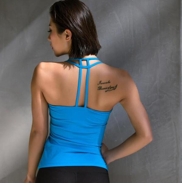 6 farben aushöhlen frauen yoga backless tank tops mit gepolsterten sport sleeveless crop tops fitness gym weste kleidung ropa mujer