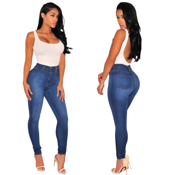 Wholesale 2019 Women jeans High Strength Water washed skinny jeans Ladies fashion New Style Leisure Bottom Jeans 105#