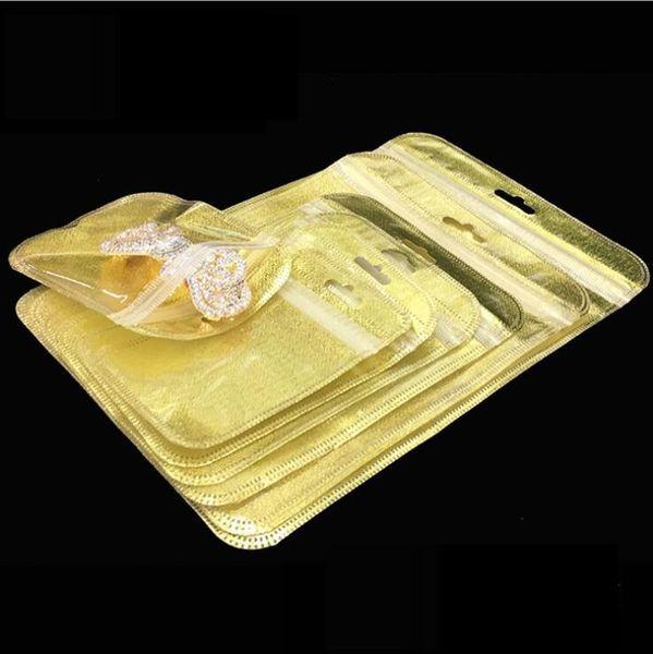 Chegada nova Pequeno saco do presente para a jóia do cosmético saco ziplock de Ouro Zíper Auto selo de plástico Multi Função de Armazenamento 200 pcs