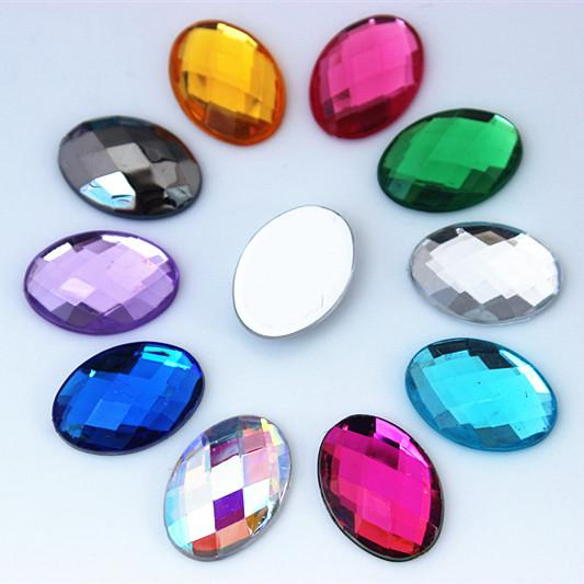 best selling 100pcs 13*18mm Crystal AB Oval Rhinestones Applique Mix Color Crystals Stones Acrylic Strass Beads for DIY Clothes Crafts Jewelry Maki ZZ724