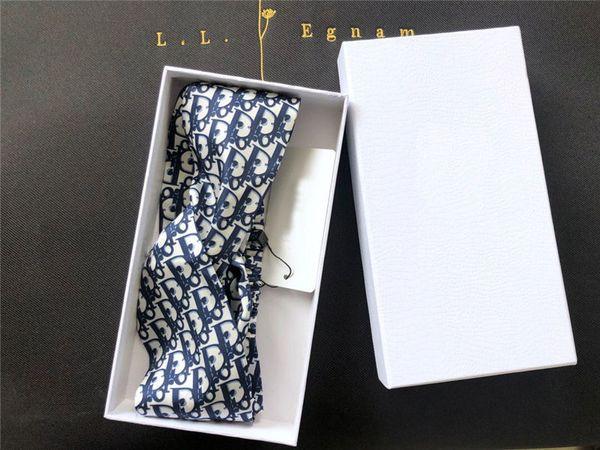 디자이너 헤어 액세서리 여자 머리띠 탄성 인쇄 된 머리띠 상자와 어두운 파란색 머리 밴드 여자 생일 선물 아이디어