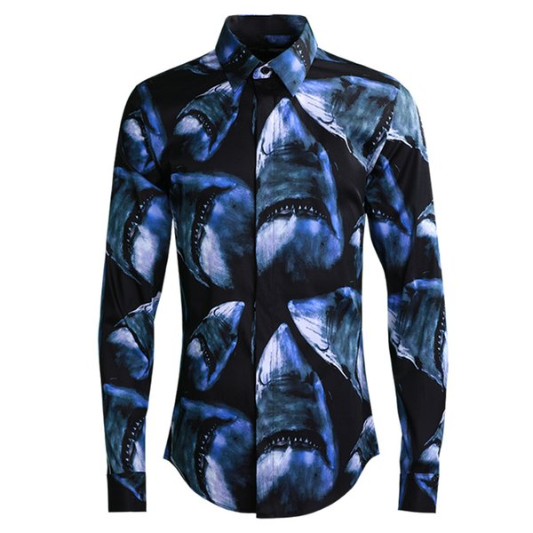 2019 spring men casual shirt high quality printed shark fashion Camisa Masculino plus size 4xl blue cotton blend men dress shirt