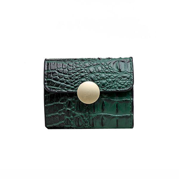 Les femmes rétro vert alligator couleur pur court Boucle Wallet Porte-Monnaie Femme Meesenger Sac Totes dames Porte-cartes sac à main
