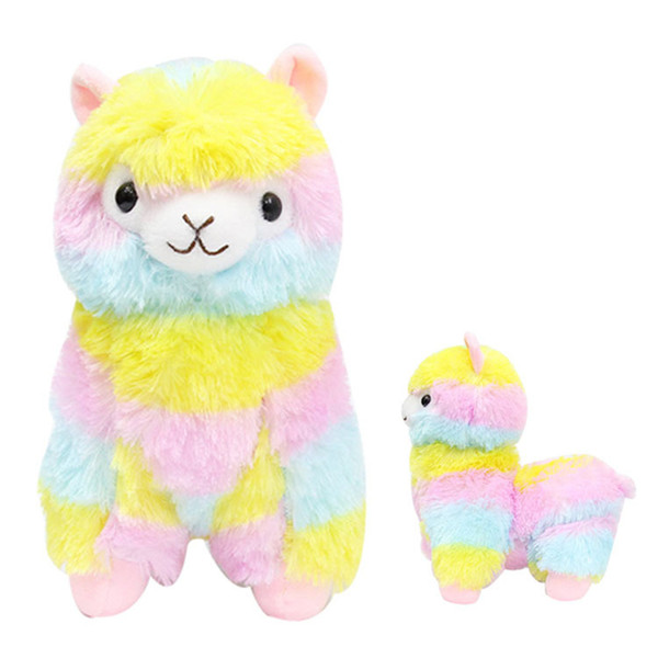 Soft Cotton Rainbow Alpaca Stuffed Plush Toy Doll Rainbow Horse Lama Animals Toys For Children Birthday Christmas Gifts