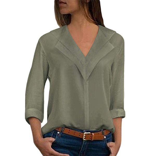 Women Chiffon Office Lady 5XL Plus Size Autumn Blouse Career Shirts Femme Blusa Ruffle Tops Solid Elegant V-neck Spring M0006