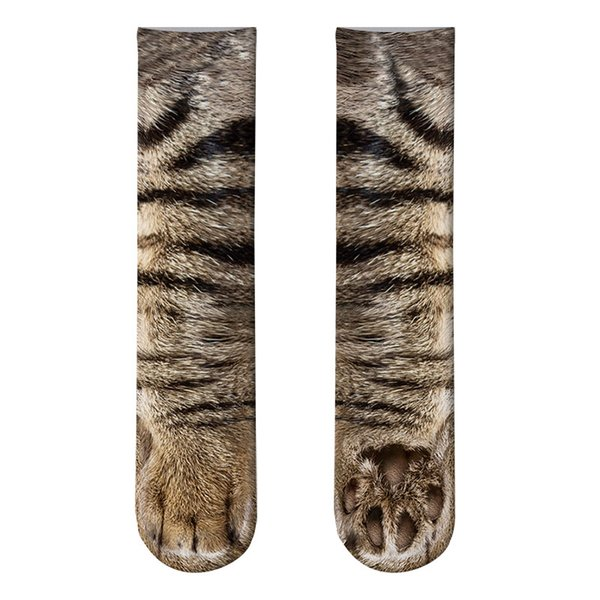 New Funny Socks 3D Paw Printed Animal Socks Women Cat Zebra Leopard Panda Paw Long Cotton Socks for Women Men Unisex
