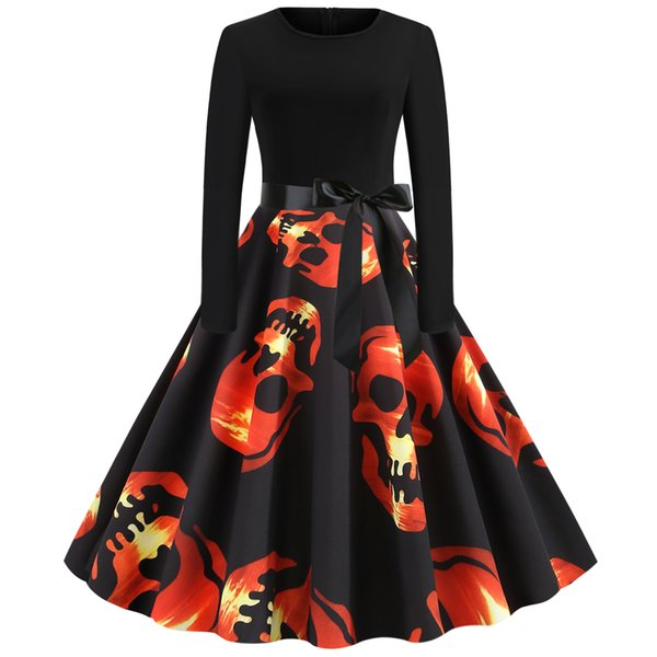 Bayan giyim bayanlar donatılmış İnce Cadılar Bayramı Kırmızı kafatası baskı artı büyük boy elbise Örgün Balo Kokteyl Balo Akşam Parti Elbise 8912
