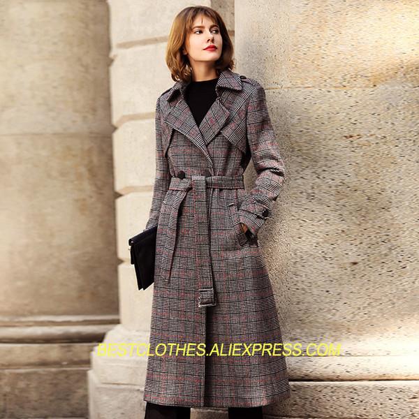 Avrupa Ekose Yün Ceket Kadın Kış Kıyafet Turn Down Yaka Yeni Bahar Palto Yün Uzun Moda Kadın Kaşmir Ceket G141