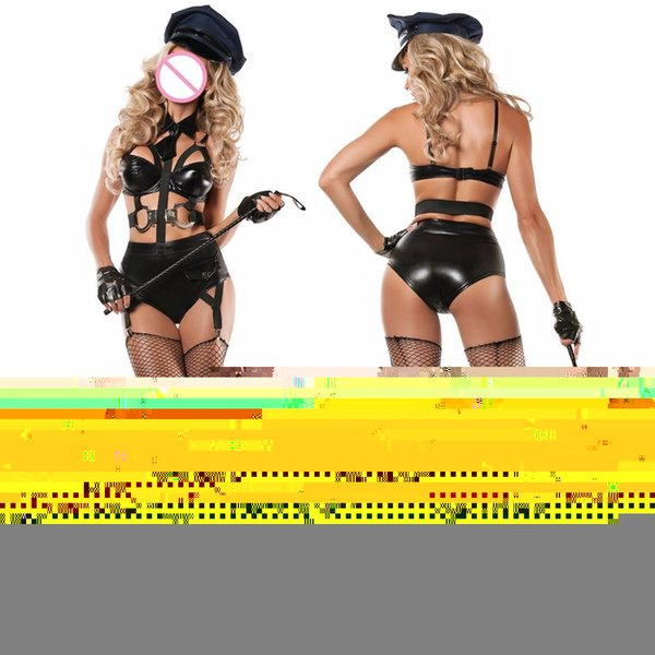 3 Pieces 2018 couro mulheres New Ladies fantasia de Halloween Costume Sexy Outfit Mulheres Sexy Cosplay Costumes