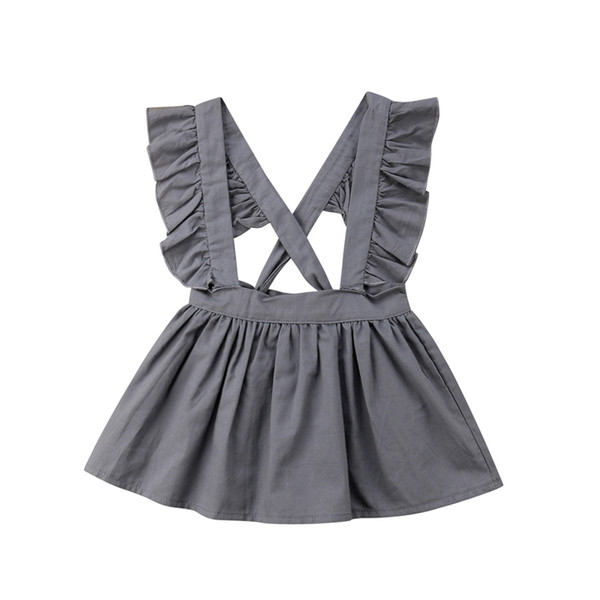 Newborn Kids Cloth Baby Girl Princess Dresses Cute Ruffles Gray Knotted Cross Strap Party Summer Casual Wear 0-24M Hot Dresses