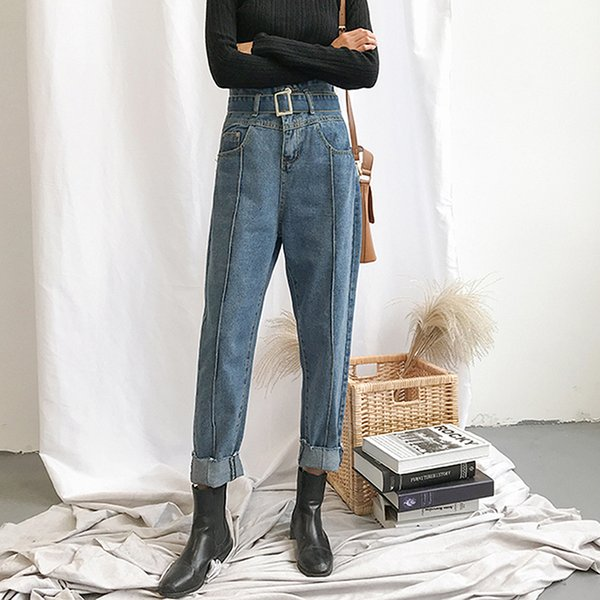 High Waist Women Jeans with Belt 2019 Vintage Loose boyfriend Ripped Jeans for women Plus Size Blue Mom Denim femme