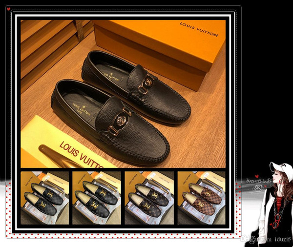 19ss Hot sale Mens Loafers Leather Shoes Luxury Designer Flat Driving Casual Shoes Men High Quality Brown Espadrilles British Style