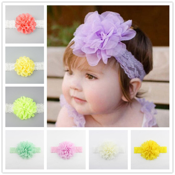 best selling 26 Colors baby lace flower hair band 2 styles silk hair rope band knitted elastic headband head bands baby hair accessories