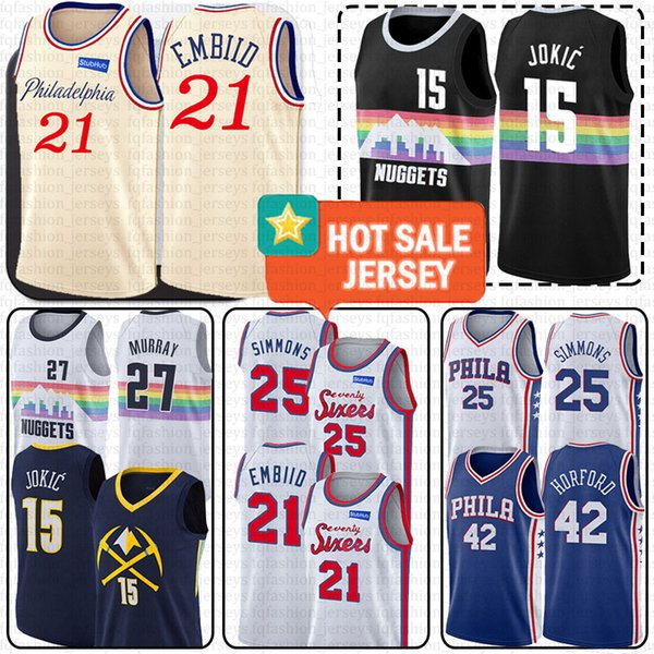 best selling 76ers Joel 21 Embiid Philadelphia Jerseys Denver Nikola 15 Jokic Jersey Nugget Allen 3 Iverson Ben 25 Simmons Jamal 27 Murray 42 Horford