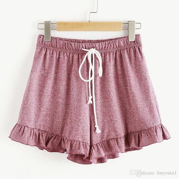 Womens short de corde sangles élastiques mi taille desserrées pour les femmes de taille Ringer solides courtes dames de remise en forme à cordonnet