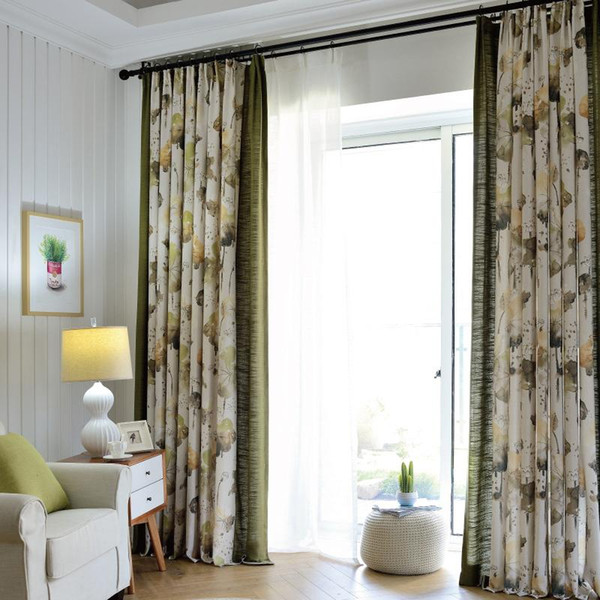 Customized modern Chinese garden curtain fabric half shade cotton linen living room bedroom finished curtains