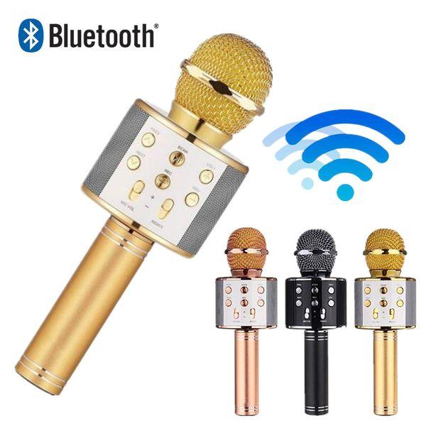 1 unids WS 858 protable micrófono inalámbrico condensador profesional karaoke micrófono bluetooth soporte radio estudio mikrofon estudio de grabación