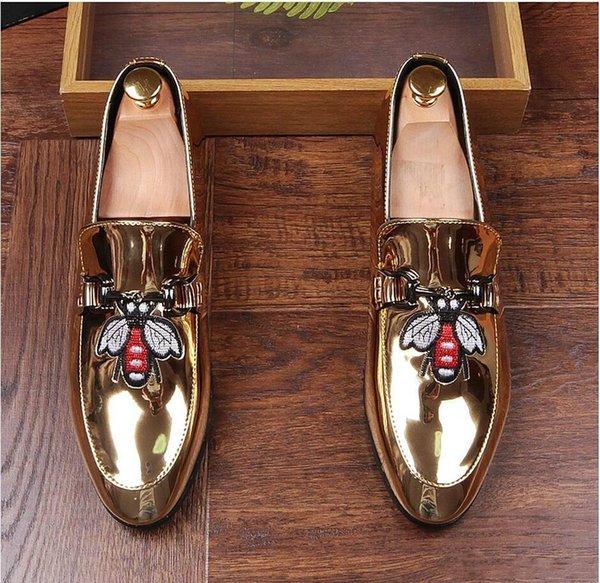 Best New 2018 donne di arrivo adattano a pattini casuali oro / nero glitter per il tempo libero dei fannulloni Slittamento ricamo Scarpe Man Party vestito da sarchiatura Sho r07