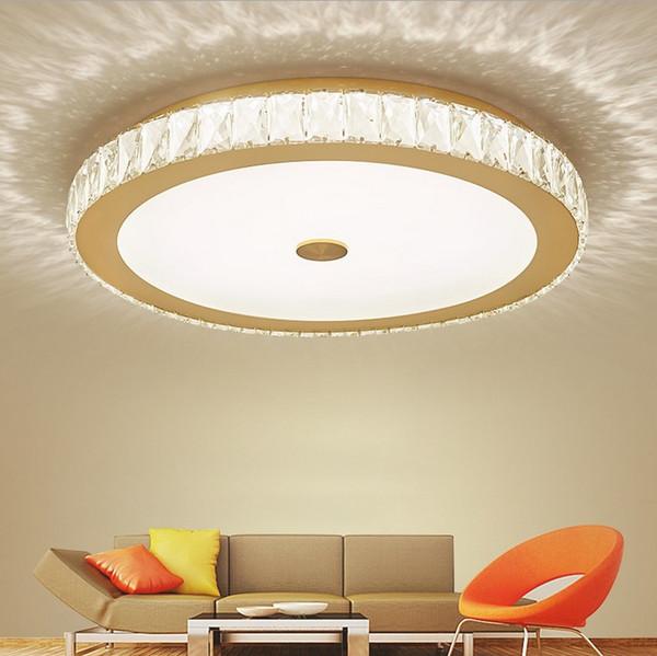 Großhandel Moderne Glanz K9 Kristall Led Deckenleuchten Wohnzimmer Gold /  Chrom Metall Dimmbare Led Deckenleuchte Schlafzimmer Led Deckenleuchten  LLFA ...