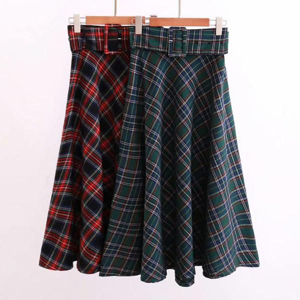 1d9b0a8a5 Cinto de Xadrez Mulheres Longas Saia Plus Size Saias Femininas Do Vintage  Jupe Femme Faldas Mujer